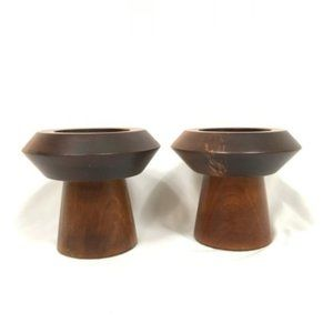 Pair Wooden Squatted Candle Holders